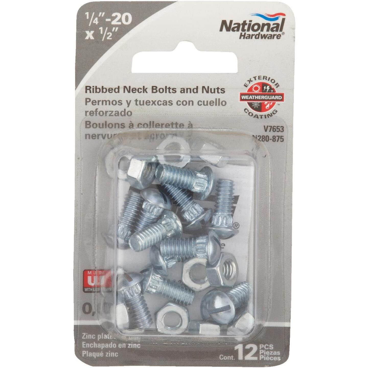 National 1/4 In. x 1/2 In. Zinc Ribbed Neck Bolt & Nut (12 Ct.) Image 2