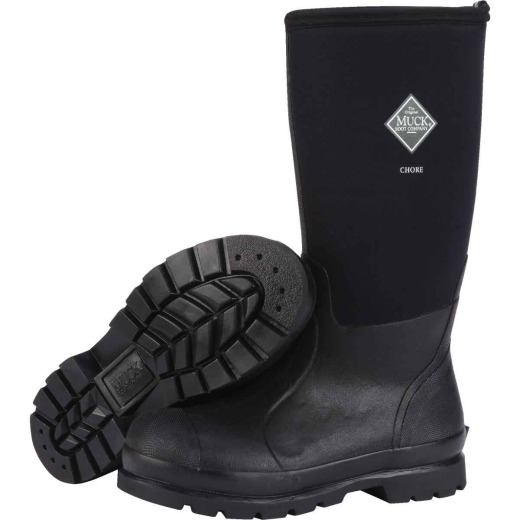 Muck Chore Classic Hi Men's Size 10 Black Plain Toe Rubber Work Boot